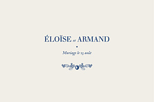 Marque-table mariage nature chic bleu