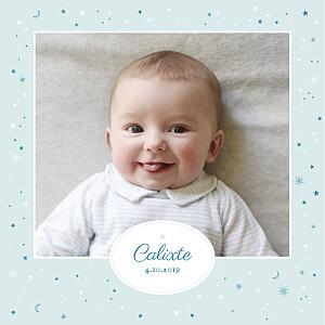 Faire-part de naissance étoile douceur céleste (4 pages) bleu