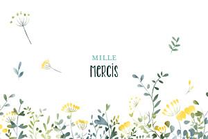 Carte de remerciement mariage blanc bouquet sauvage photo jaune