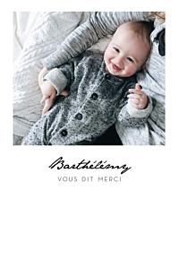 Carte de remerciement petit frère ou petite soeur un joli petit mot portrait blanc
