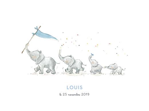 Affichette 4 éléphants en famille bleu - Page 1
