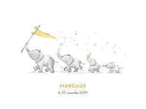 Affichette 4 éléphants en famille jaune