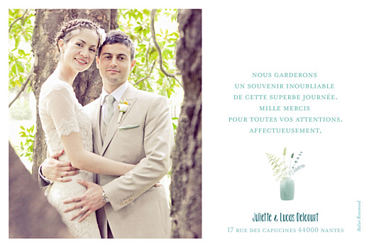 Carte de remerciement mariage Bouquet sauvage photo jaune - Page 2