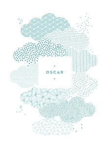 Affichette blanc sur un petit nuage bleu