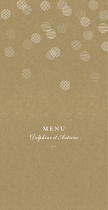 Menu de mariage marron polka kraft