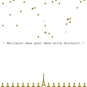 Carte de voeux design paris doré
