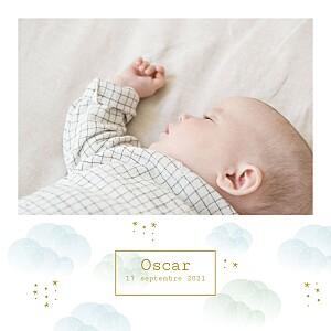Faire-part de naissance blanc brume bleu