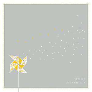 Faire-part de baptême jaune moulin à vent gris jaune
