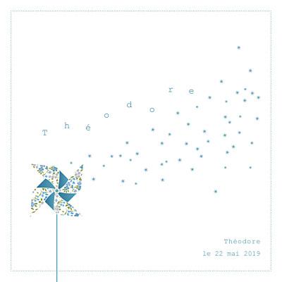 Faire-part de naissance Moulin à vent blanc bleu finition