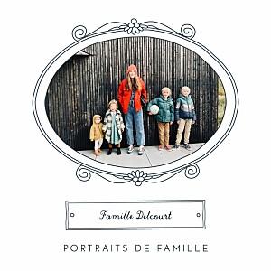 Carte de voeux vintage portraits de famille bleu