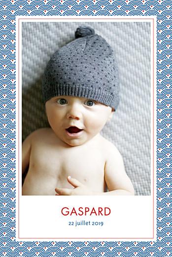 Faire-part de naissance Pattern portrait 2 photos rouge bleu