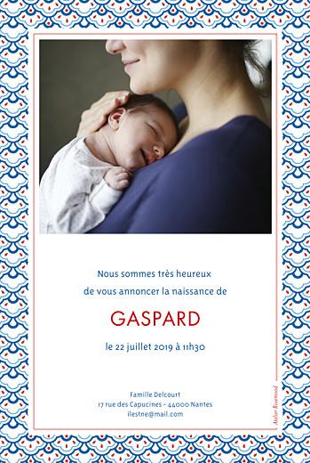 Faire-part de naissance Pattern portrait 2 photos rouge bleu - Page 2