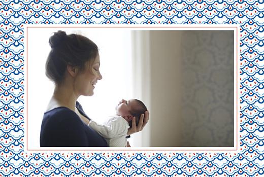 Faire-part de naissance Pattern paysage 2 photos rouge bleu - Page 2