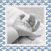 Faire-part de naissance Petit pattern (triptyque) bleu, blanc & rouge page 4