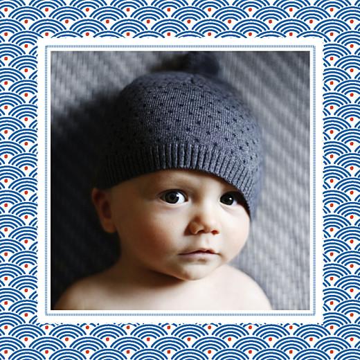 Faire-part de naissance Petit pattern (triptyque) bleu, blanc & rouge