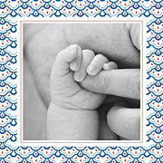 Faire-part de naissance Petit pattern (triptyque) bleu, blanc & rouge page 6