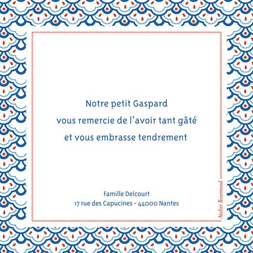 Carte de remerciement Merci pattern écusson bleu, blanc & rouge - Page 2