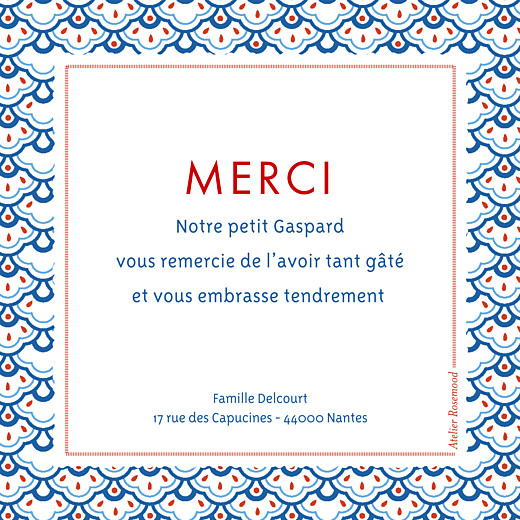Carte de remerciement Merci pattern photo rouge bleu - Page 2