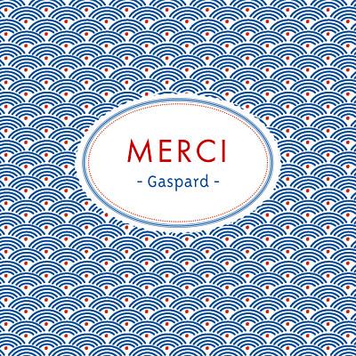 Carte de remerciement Merci pattern écusson bleu, blanc & rouge finition