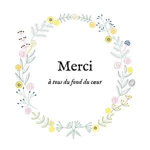 Carte de remerciement fleur merci douceur champêtre (carré) blanc