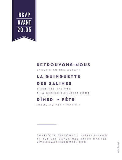 Faire-part de mariage L'annonce kraft & bleu-violet - Page 2