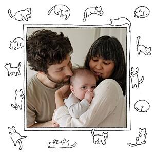 Carte de remerciement tendance petit chaton blanc