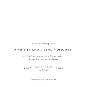 Faire-part de mariage design lettres d'amour (dorure) blanc