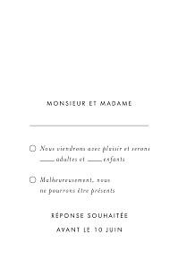 Carton réponse mariage rose lettres d'amour (dorure) blanc