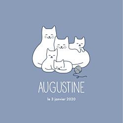 Faire-part de naissance gris cinq petits chats bleu-gris