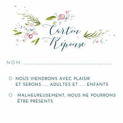 Carton réponse mariage Journée de printemps (carré) blanc finition