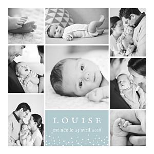 Faire-part de naissance jumeaux souvenir étoilé 8 photos vert