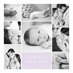 Faire-part de naissance blanc souvenir étoilé 8 photos parme