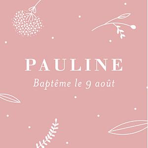 Etiquette de baptême rose élégant feuillage rose