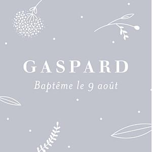 Etiquette de baptême gris élégant feuillage gris