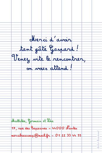 Carte de remerciement Petit écolier blanc - Page 2