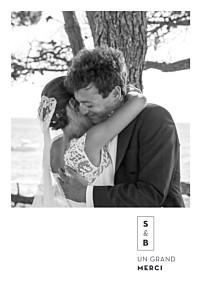 Carte de remerciement mariage moderne laure de sagazan (dorure) blanc