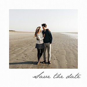 Save the date avec photo petit polaroid blanc