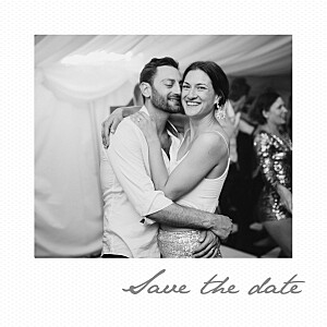 Save the date gris petit polaroid blanc