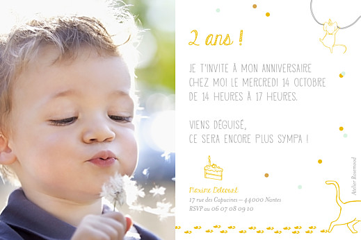 Carte d'anniversaire Chat perché jaune - Page 2