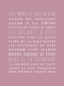 Affiche Bonne fête mamie rose