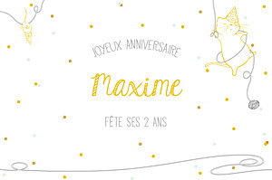 Carte d'anniversaire original chat perché jaune