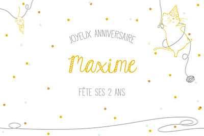 Carte d'anniversaire Chat perché jaune finition