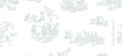 Etiquette perforée baptême Toile de jouy vert pâle - Page 2