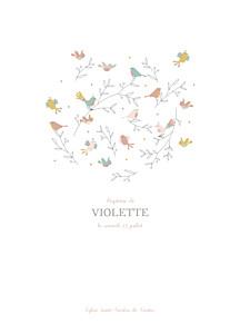 Livret de messe blanc oiseaux multicolores rose