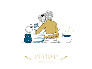 Affiche original lovely family 2 enfants (baby) garçon