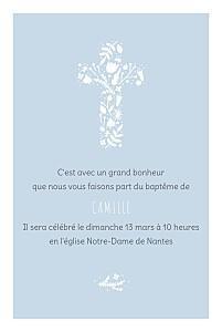 Faire-part de baptême Croix des champs bleu