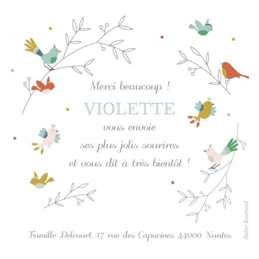 Carte de remerciement Petits oiseaux multicolores rose - Page 2