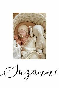 Faire-part de naissance classique little big one 2 photos blanc