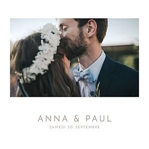 Faire-part de mariage photos élégant photo blanc