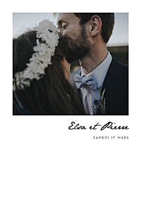 Faire-part de mariage photos un joli mot portrait blanc
